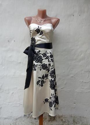 Шикарное шёлковое нарядное вечернее платье шампань с бантом warehouse 💣