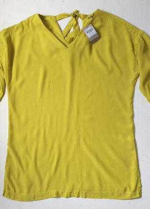 Подовжена лаймова блуза з зав'язками