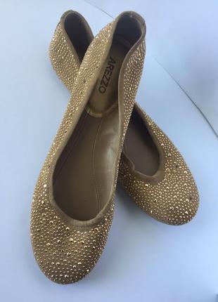 Золотые балетки туфли arezzo кожаные