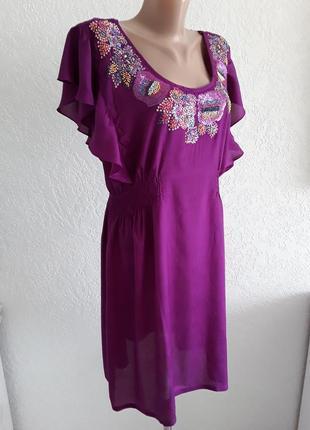 Платье - вышиванка ( украшено бисером и  пайетками) , туника  с тончайшей вискозы