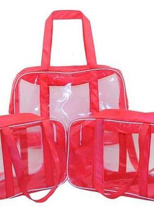 Сумки в роддом, комплект прозрачных сумок с роддом