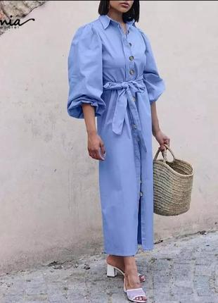 Платье 👗 рубашка с объёмными рукавами
