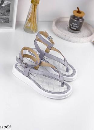 Босоножки =fs=,  цвет: white+ lavender, натуральная кожа