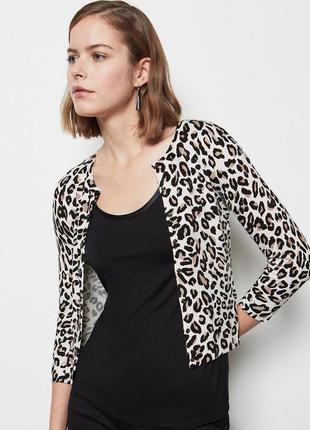 Модный короткий кардиган леопард