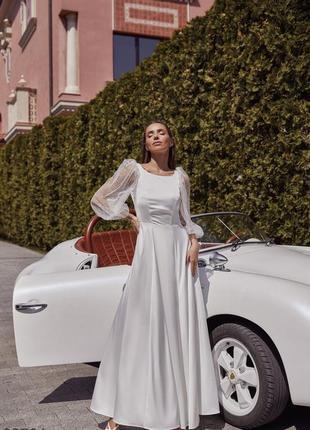 Длинное белоснежное свадебное, венчальное, вечернее платье с мерцающими рукавами