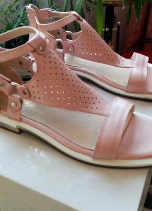 Кожаные сандали 38 р. роза с напылением. в наличии. под заказ другие размеры. шкіряні сандалі люкс
