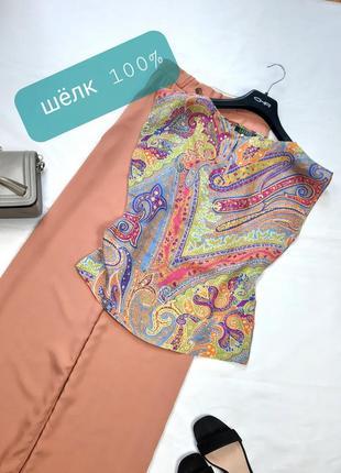 Тончайшая брендовая блуза из шелка, летняя майка, xs,s