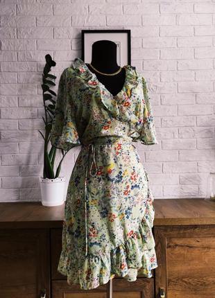 Платье сарафан на запах, шифон, разноцветный цветок,рюши,миди,р.38-40,m,l
