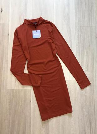 Новое с биркой платье миди с горловиной по фигуре нова сукня міді з довгим рукавом missguided s/m