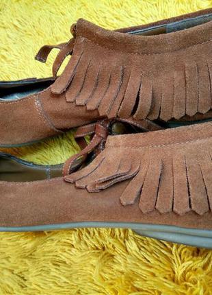 Туфли броги балетки topshop замшевые с бахромой размер 40
