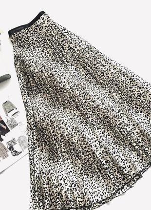 Плиссированная юбка длинная , юбка плиссе,звериный принт