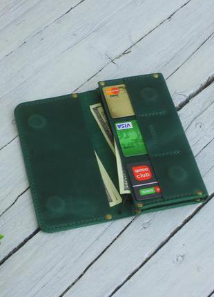 Кожаный зеленый кошелек ручной работы
