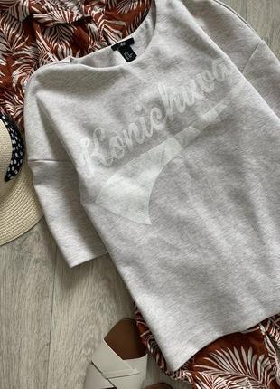 Стильная бежевая футболка топ h&m