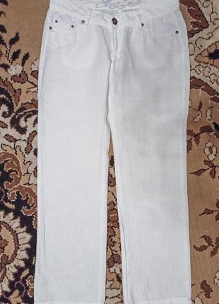 Джинсы  белые женские лен