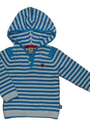 Детский хлопковый свитер с капюшоном в кремово-голубую полоску (р.116-152) (quadrifoglio, польша)