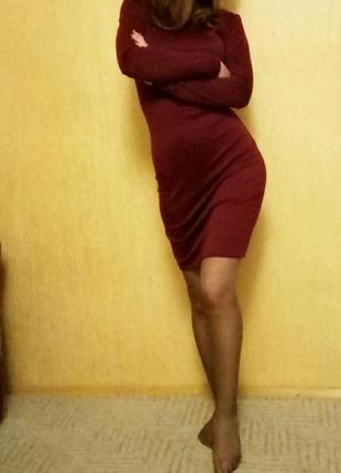 Платье  бордового цвета, 40 размер, xxs-xs