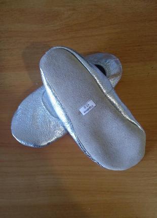 Чешки детские кожаные серебристые 15-21,5 см2 фото