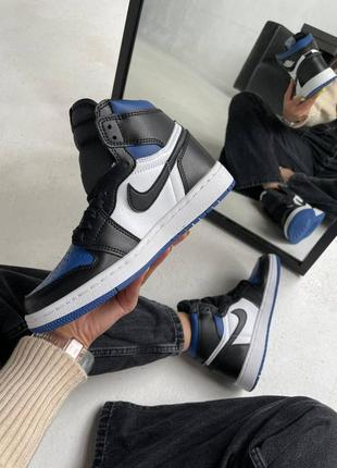 "Nike air jordan retro 1 high ""royal toe blue"" кроссовки найк аир джордан наложенный платёж купить1 фото"