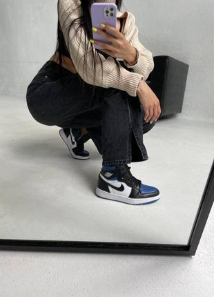 "Nike air jordan retro 1 high ""royal toe blue"" кроссовки найк аир джордан наложенный платёж купить3 фото"