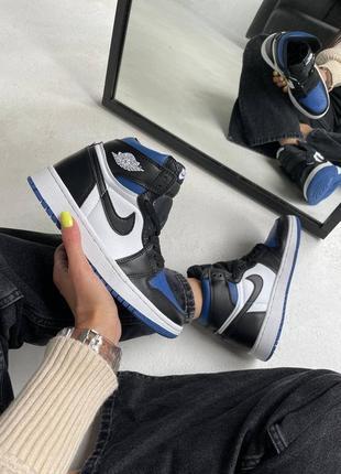 "Nike air jordan retro 1 high ""royal toe blue"" кроссовки найк аир джордан наложенный платёж купить4 фото"