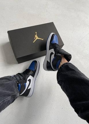 "Nike air jordan retro 1 high ""royal toe blue"" кроссовки найк аир джордан наложенный платёж купить8 фото"