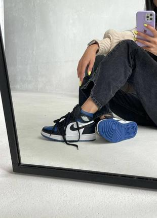 "Nike air jordan retro 1 high ""royal toe blue"" кроссовки найк аир джордан наложенный платёж купить5 фото"
