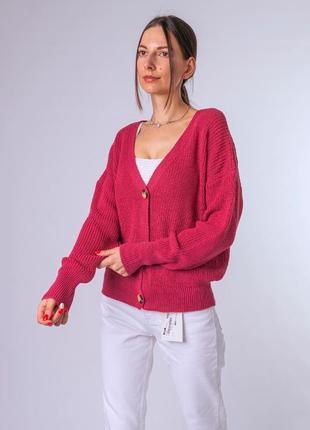 Стильный темно-розовый кардиган 50% шерсти