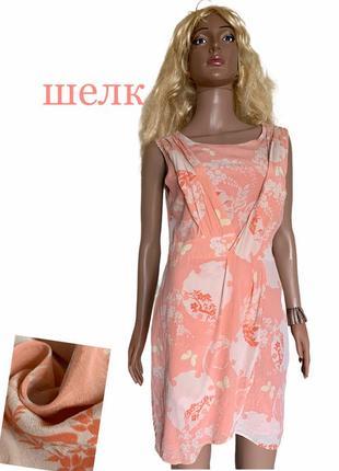 Нежная расцветка шелковое платье шелк натуральный oasis
