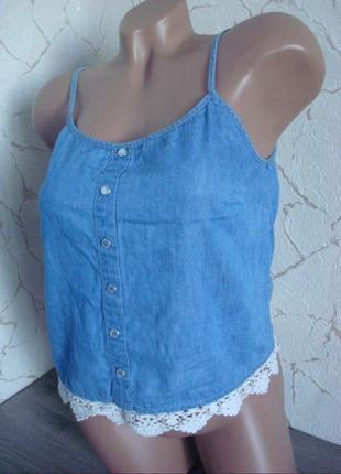 Майка синяя тонкий джинс с отделкой кружевом,размер 42-44