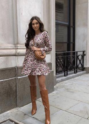 Цветочное сатиновое платье zara
