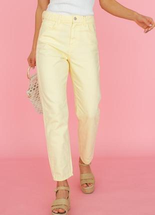 Желтые джинсы мом с завышенной талией, арт. 50287 - турция