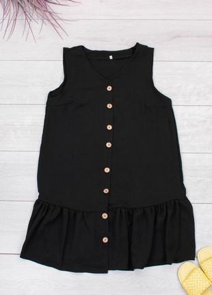 Стильное черное платье на пуговицах сарафан1 фото