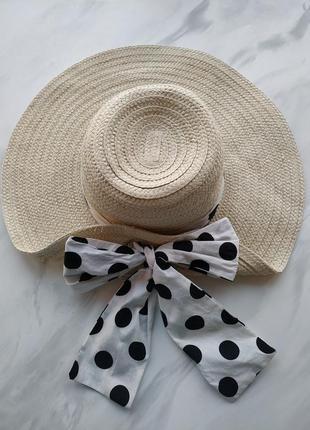 Шляпа пляжная летняя плетёная с бантом в горошек