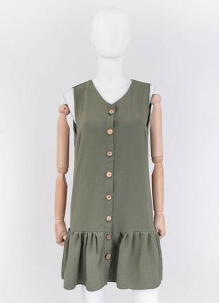 Стильное хаки платье на пуговицах сарафан2 фото