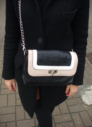 Маленькая сумочка под шанель клатч кросс-боди на длинной ручке цепочке металлической