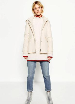 Короткое пальто с капюшоном zara