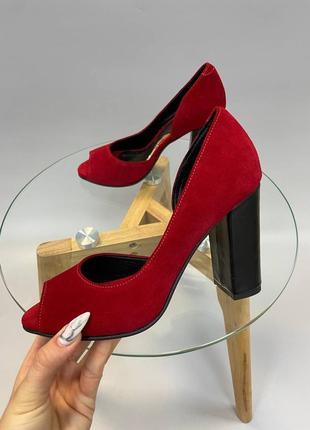 Эксклюзивные туфли натуральная итальянская кожа и замша люкс красные