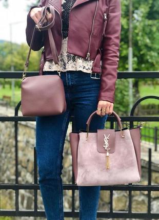 Новая сумка натуральная замша+клатч, комплект сумок