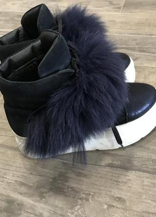 Зииние ботинки, ботинки с мехом, зимние слипоны, высокие слипоны