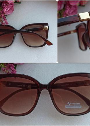 Новые красивые солнцезащитные очки с блеском по бокам, коричневые
