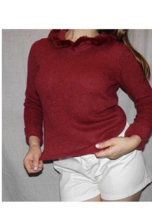 Итальянский свитер с натуральным мехом мохер шерсть james lakeland яркий винный красный цвет