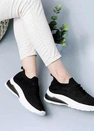 Легкие и удобные, повседневные, чёрные, текстильные кроссовки