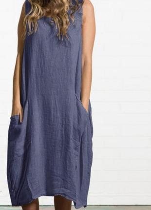 Льняной итальянский сарафан платье в стиле бохо