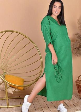 Зелёное длинное платье лён лето