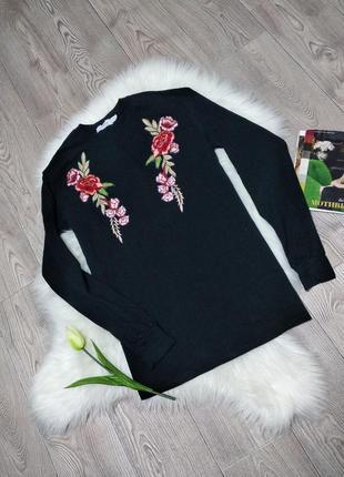 Женский длинный хб свитер свитшот с вышивкой