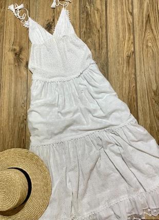 Платье длинное , сарафан макси в  пол , италия , прошва 100% хлопок