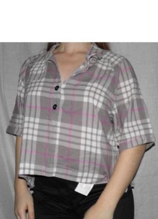 Free people хлопок оригинальная рубашка под горло в клетку