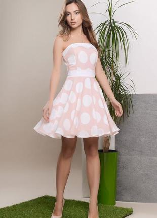 Персиковое платье, платье в горошек, платье бюстье, летнее платье