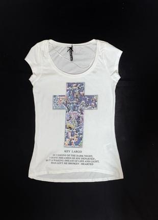 Классная коттоновая футболка с принтом из пайеток