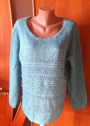Классный бирюзовый джемпер (свитер) c ворсом-травкой